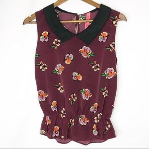 EIGHT SIXTY Floral Maroon Tank in EUC - Size L